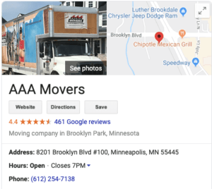 AAA Movers address on Google