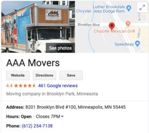 AAA Movers address on Google