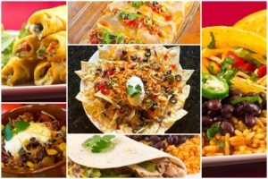 Collage of Mexican dishes including enchiladas, nachos, and fajitas
