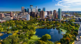 Minneapolis skyline with park and lake